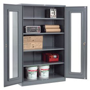 Global™ Clear View Storage Cabinet Easy Assembly 48x24x78 - Gray