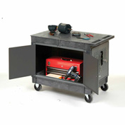 "Mobile Maintenance Cart with Flat Top Shelf 5"" Rubber Casters"