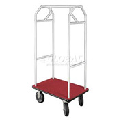 Glaro Bellman Hotel Cart 35x24 Satin Aluminum, Burgundy Carpet & Rubber Wheels