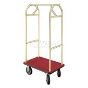 Glaro Bellman Hotel Cart 35x24 Satin Brass with Burgundy Carpet & Rubber Wheels