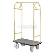 Glaro Bellman Hotel Cart 35x24 Satin Brass with Gray Carpet & Pneu. Wheels