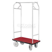 Glaro Bellman Hotel Cart 41x24 Satin Aluminum, Burgundy Carpet & Pneu. Wheels