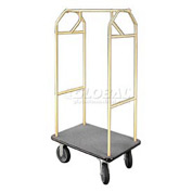 Glaro Bellman Hotel Cart 41x24 Satin Brass with Gray Carpet & Rubber Wheels
