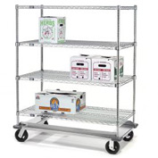 Nexel® E-Z Adjust Wire Shelf Truck with Dolly Base 48x24x61 1600 Lb. Cap.