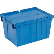 Plastic Shipping Container - Hinged Lid Storage DC2420-12 23-3/4 x 19-1/4 x 12-1/2 Blue