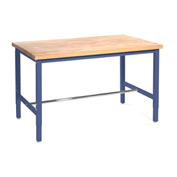 "60""W x 30""D Production Workbench - Maple Butcher Block Safety Edge - Blue"
