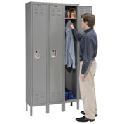 Hallowell U3258-1HG Premium Locker Single Tier 12x15x72 3 Door Ready Assemble Gray