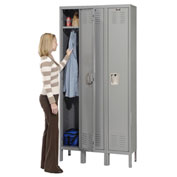 Hallowell U3558-1HG Premium Locker Single Tier 15x15x72 3 Door Ready Assemble Gray