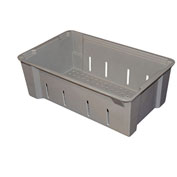 "Molded Fiberglass Toteline Nest and Stack Wash Box 705348 -17-7/8""L x 11-1/4""W x 6""H, Gray"