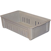 "Molded Fiberglass Toteline Stacking Wash Box 814248 - 20-3/4""L x 11-1/4""W x 5""H, Gray"