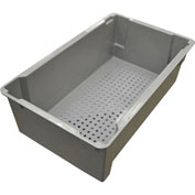 "Molded Fiberglass Toteline Nest and Stack Wash Box 705248 -24""L x 14-3/8""W x 7-3/4""H, Gray"
