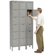 Hallowell U3258-6HG Premium Locker Six Tier 12x15x12 18 Door Ready To Assemble Gray