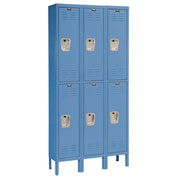 Hallowell U3288-2MB Premium Locker Double Tier 12x18x36 6 Door Ready To Assemble Blue