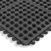 Cushion Modular Matting 5/8 Inch Thick 3' X 3' Drainage With Grit Black