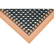 Hi-Visibility Safety Drainage Matting With Grit Top 3-Sided Border 38x124 Orange