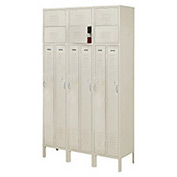 Penco 6501V-3073-KD VanGuard Two Person Locker 15x15x72 Ready To Assembled 3 Wide Champagne