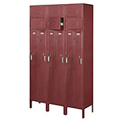 Penco 6503V-3736-KD VanGuard Two Person Locker 15x18x72 Ready To Assembled 3 Wide Burgundy