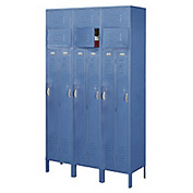 Penco 6505V-3806-KD VanGuard Two Person Locker 15x21x72 Ready To Assembled 3 Wide Marine Blue