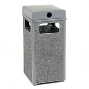 "Global™ Stone Panel Trash Weather Urn Gray 17-1/2"" Square X 36""H"