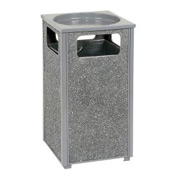 "Global™ Stone Panel Trash Sand Urn Gray 17-1/2"" Square X 32""H"