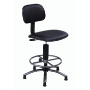"Office Stool - Vinyl -  17""- 21"" - Black"