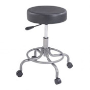 Scooter Stool with Footrest - Vinyl - Black