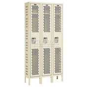 Hallowell U3588-1HDV-PT Heavy-Duty Ventilated Locker Single Tier 15x18x72 3 Door Unassembled