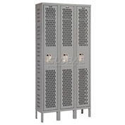 Hallowell U3888-1HV-A-HG Heavy-Duty Ventilated Locker Single Tier 18x18x72 3 Door Assembled