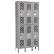 Hallowell U3228-2HDV-HG Heavy-Duty Ventilated Locker Double Tier 12x12x36 6 Door Unassembled