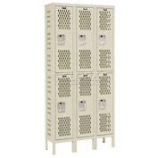 Hallowell U3228-2HDV-PT Heavy-Duty Ventilated Locker Double Tier 12x12x36 6 Door Unassembled