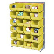 "Singled Sided Louvered Bin Rack 35""W x 15""D x 50""H with 58 of Yellow Premium Stacking Bins"