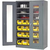 Locking Storage Cabinet Clear Door 48x24x78 With 20 Yellow Stacking Bins and 6 Shelves Unassembled