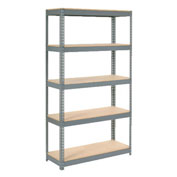 "Extra Heavy Duty Shelving 48""W x 24""D x 72""H With 5 Shelves, Wood Deck"
