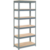 "Extra Heavy Duty Shelving 36""W x 18""D x 72""H With 6 Shelves, Wood Deck"