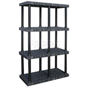 "Structural Plastic Vented Shelving, 48""W x 24""D x 75""H, Black"