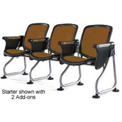Modular Reception Seating Add-On Seat With Tablet Brown