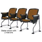 Modular Reception Seating Row Starter Seat With Tablet Brown