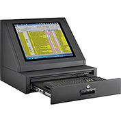 LCD Console Counter Top Security Computer Cabinet - Black
