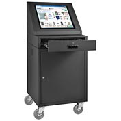 LCD Mobile Console Computer Cabinet - Black