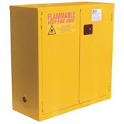 "Global&#8482 Flammable Cabinet - 28 Gallon - Manual Close Double Door - 34""W x 18""D x 44""H"