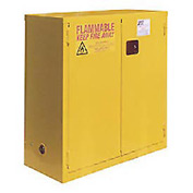 "Global&#8482 Flammable Cabinet - 28 Gallon - Self Close Double Door - 34""W x 18""D x 44""H"