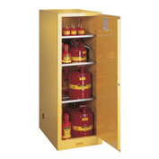 "Justrite 54 Gallon 1 Door, Manual, Slimline, Flammable Cabinet, 23-1/4""W x 34""D x 65""H, Yellow"