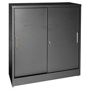 Sandusky Sliding Door Counter Height Storage Cabinets BA1S361829 - 36x18x29, Black