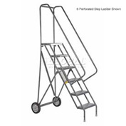 3 Step Steel Roll and Fold Rolling Ladder - Perforated Tread - KDRF103166