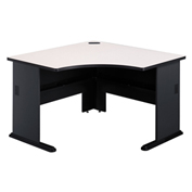 Corner Desk in Slate Frame with Gray Surface - Modular Office Furniture