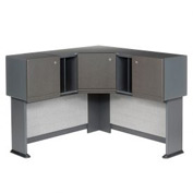 Corner Hutch in Slate Frame with Gray Surface - Modular Office Furniture