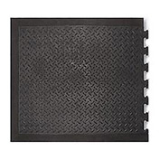 "Modular Diamond Top Rubber Matting End Tile 1/2"" Thick 28""X31"" Black"