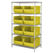 "Quantum WR5-955 Chrome Wire Shelving With 8 24""D Bins Yellow, 42x24x74"