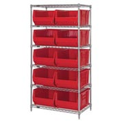 "Quantum WR6-954 Chrome Wire Shelving With 10 24""D Bins Yellow, 36x24x74"