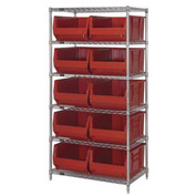 "Quantum WR6-954 Chrome Wire Shelving With 10 24""D Bins Red, 36x24x74"